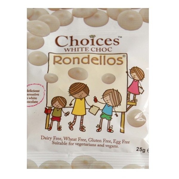 4 X White Chocolate Rondellos Buttons Choices Dairy Free Milk Chocolate Alternative Celtic 25g